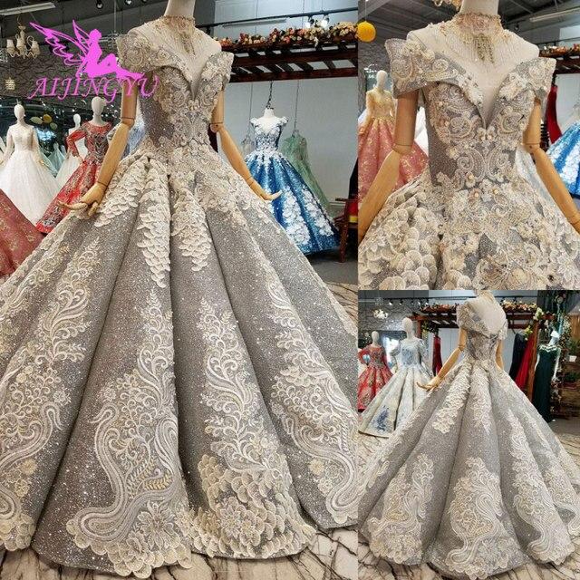 AIJINGYU koronkowe suknie ślubne luksusowe suknie Vintage dojrzałe amerykańskie akcesoria główna ulica prosty długi biały strój na ślub