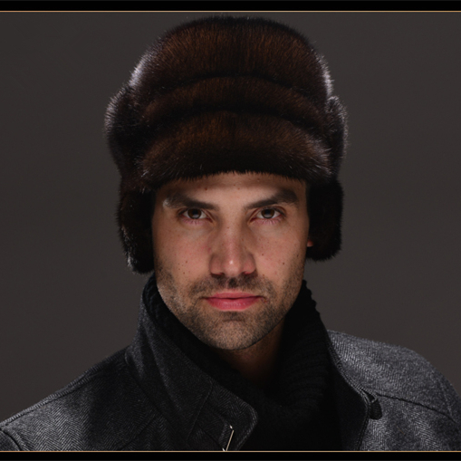 HM028  Real genuine mink  fur hat  winter Russian men's warm caps whole piece mink fur hats mink skullies beanies hats knitted hat women 5pcs lot 2299