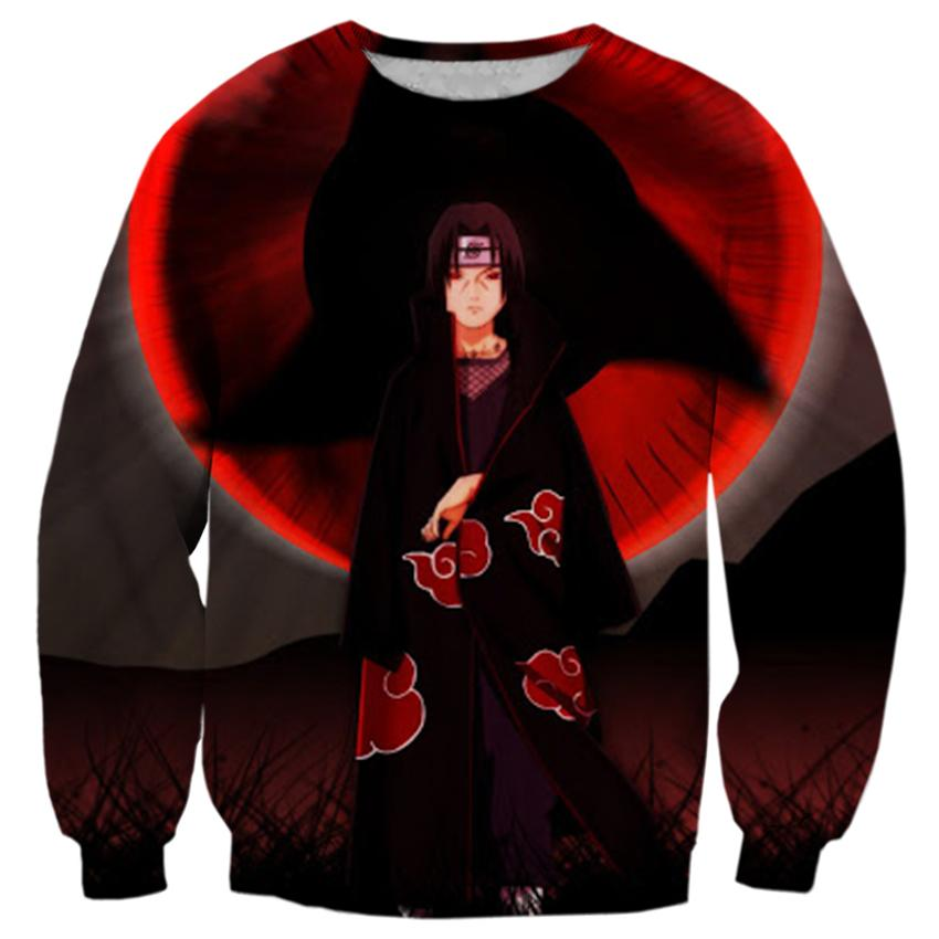 2018 FASHION MEN WOMEN Naruto Red clouds cool black 3D Print Sweat shirts Pullovers Tracksuit Streetwear Loose Thin Hoody Tops