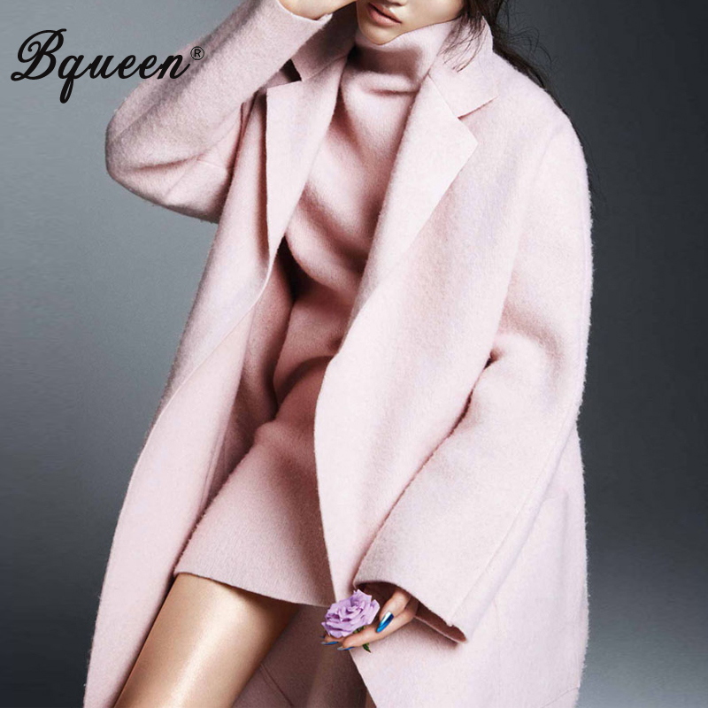 Bqueen 2017 Winter Women New Turn-down Collar Temperament Elegant Long Loose Pink Woolen Coat Jackets