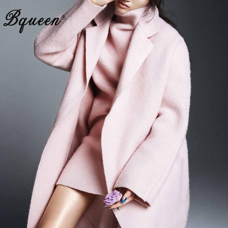 Bqueen 2017 Winter Women New Turn down Collar Temperament Elegant Long Loose Pink Woolen Coat Jackets