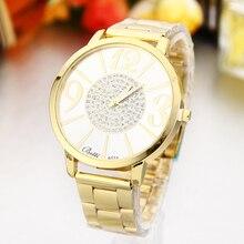 Новинка 2016 года полный Нержавеющая сталь золотые часы Роскошные Для женщин Часы Кристалл Кварцевые часы большой циферблат бренд Наручные Часы Relogio feminino