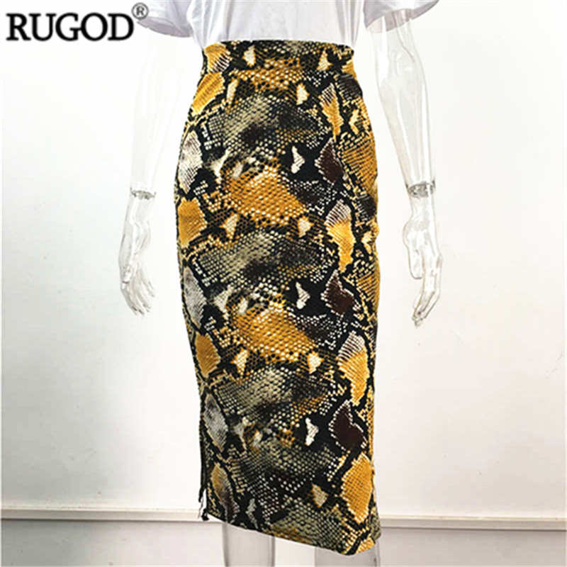 RUGOD Women Skirts Leopard Snake Zebra Print Slim Pencil Skirt Empire Waist Plus Size Clothes 2019 New Fashion Female Sexy Skirt