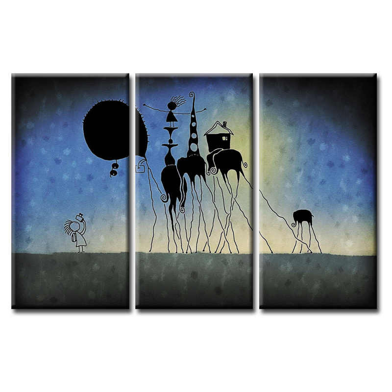 3 Pieces/set Abstract poster series Canvas Painting Children's room Decoration Print Canvas Pictures Framed/Abstract (76)