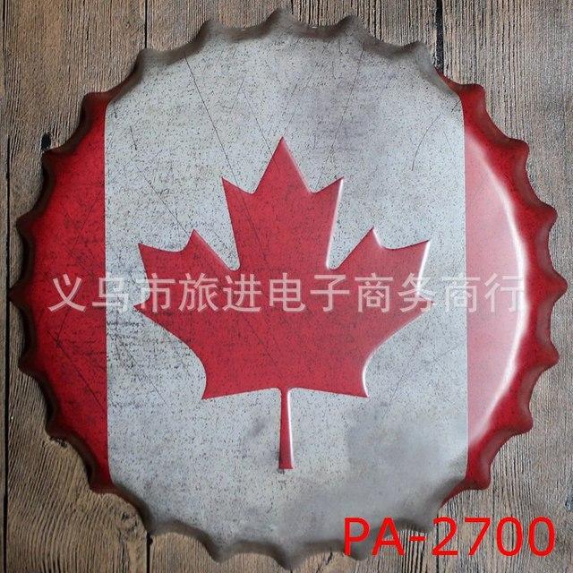 40cm Canada Flag Bottle Cap Vintage Home Decor Tin Sign Bar Wall ...