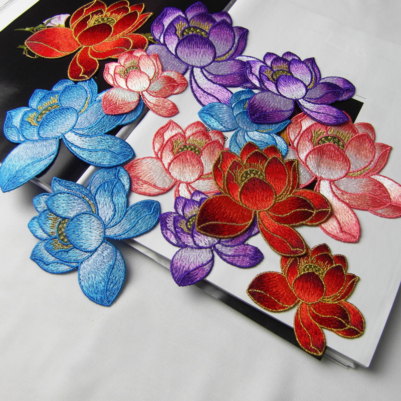 5pcslot Lotus Flower Embroidery Patches Diy Applique Sew On Patch