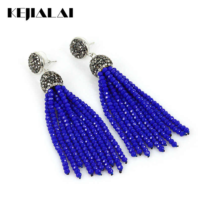 Kejialai 2018 New Fashion Women Drop Earrings Vintage Dangle Earring For Female Glass Ethnic Tassel Women Retro Jewelry KJL001
