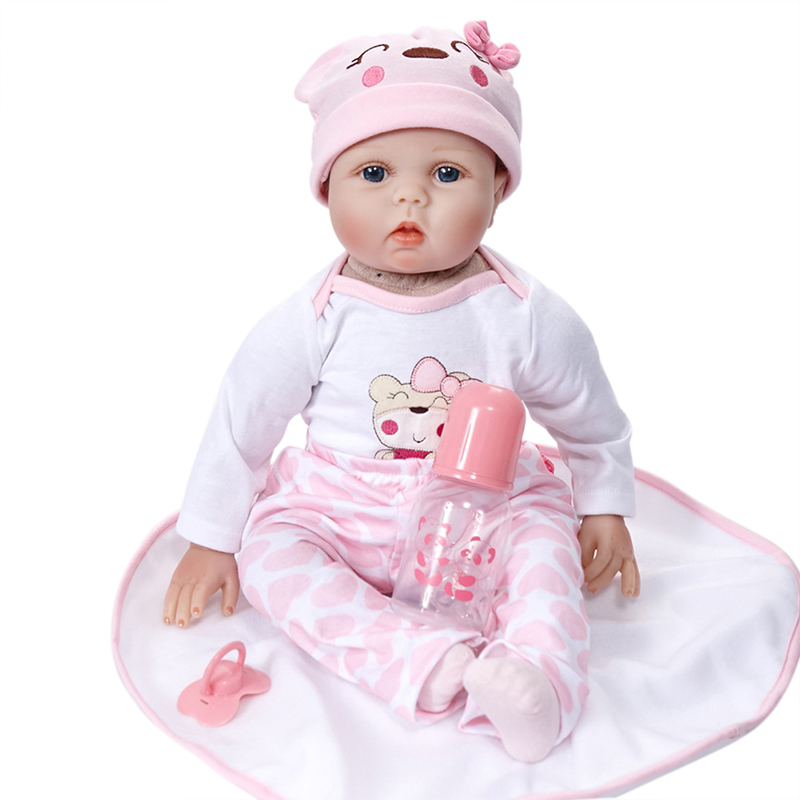 Reborn Doll Lifelike Realistic Baby Doll Gift with Bottle Pacifier Clothes 22-inch Weighted Baby Accompany DollsReborn Doll Lifelike Realistic Baby Doll Gift with Bottle Pacifier Clothes 22-inch Weighted Baby Accompany Dolls