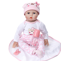 Reborn Doll Lifelike Realistic Baby Doll Gift with Bottle Pacifier Clothes 22 inch Weighted Baby Accompany Dolls