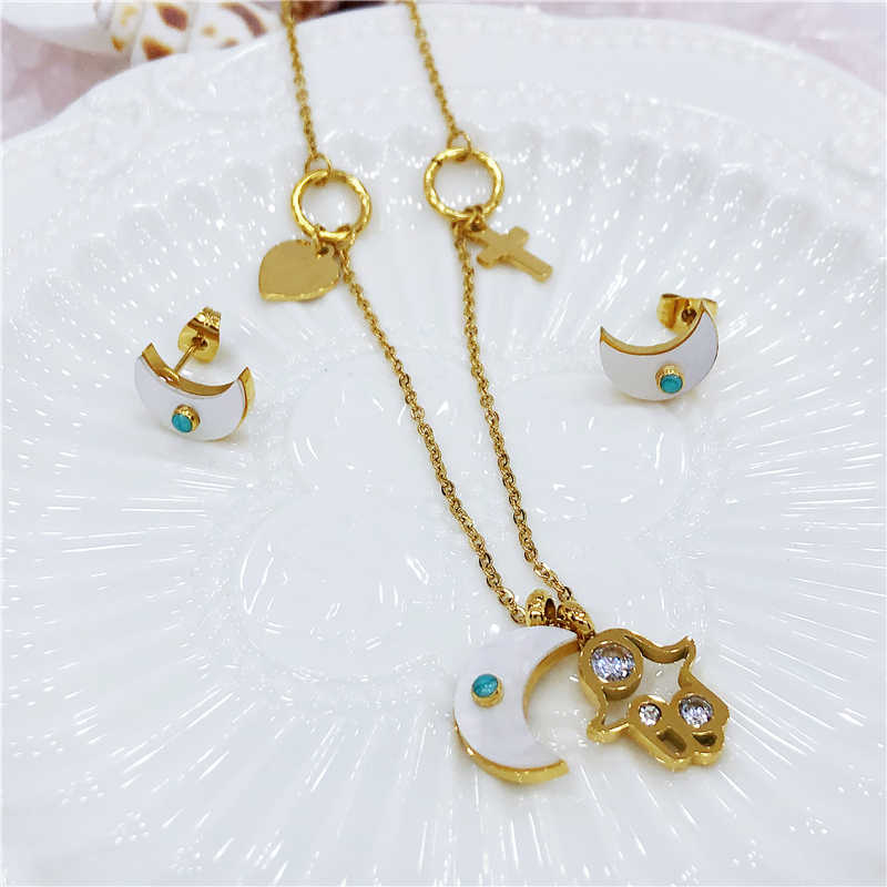 New Hamsa Fatima Hand Necklace Women Gold Silvery Moon Heart Cross Bear Necklaces Earings Boho Pendants Stainless steel jewelry