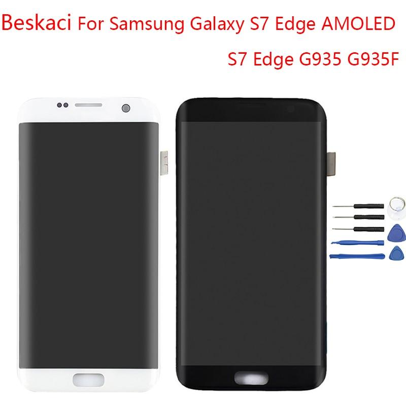Beskaci AMOLED S7 Bord Affichage Pour Samsung Galaxy S7 Bord Affichage Écran LCD Avec Cadre Pour Samsung G935F Tactile D'affichage écran