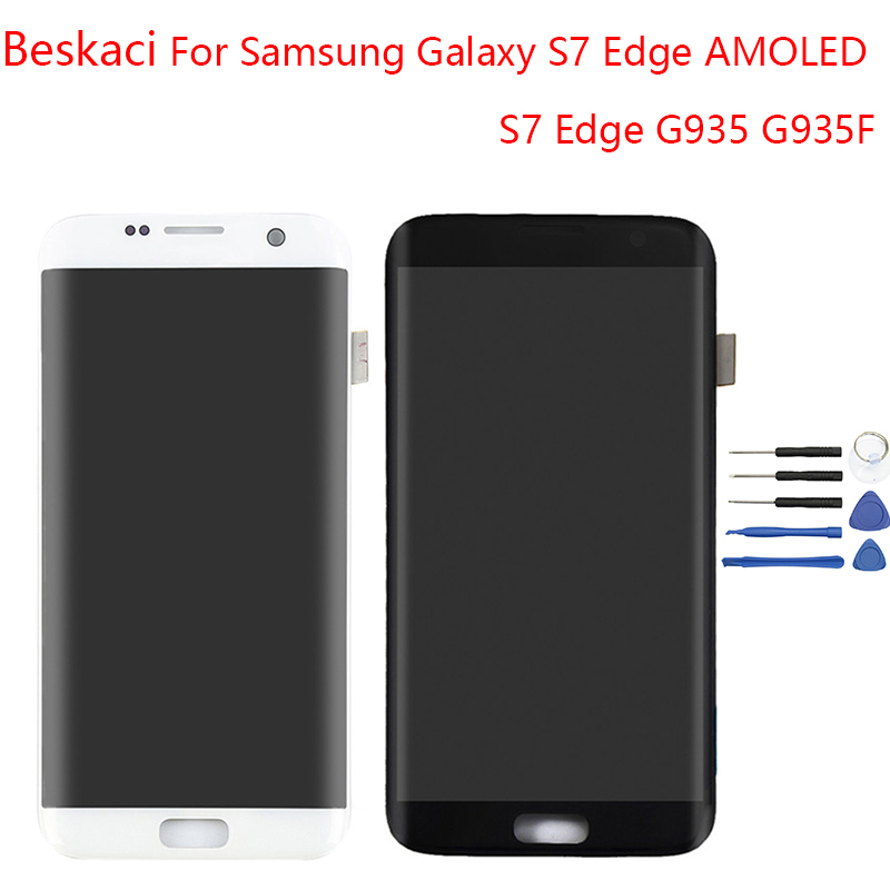 Beskaci AMOLED S7 Bordo Display Per Samsung Galaxy S7 Bordo Display Schermo LCD Con Cornice Per Samsung G935F Display Touch schermo