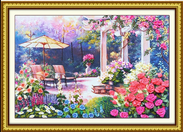 3d Romantic Rose Flower Garden Ribbon Embroidery Painting Set Big