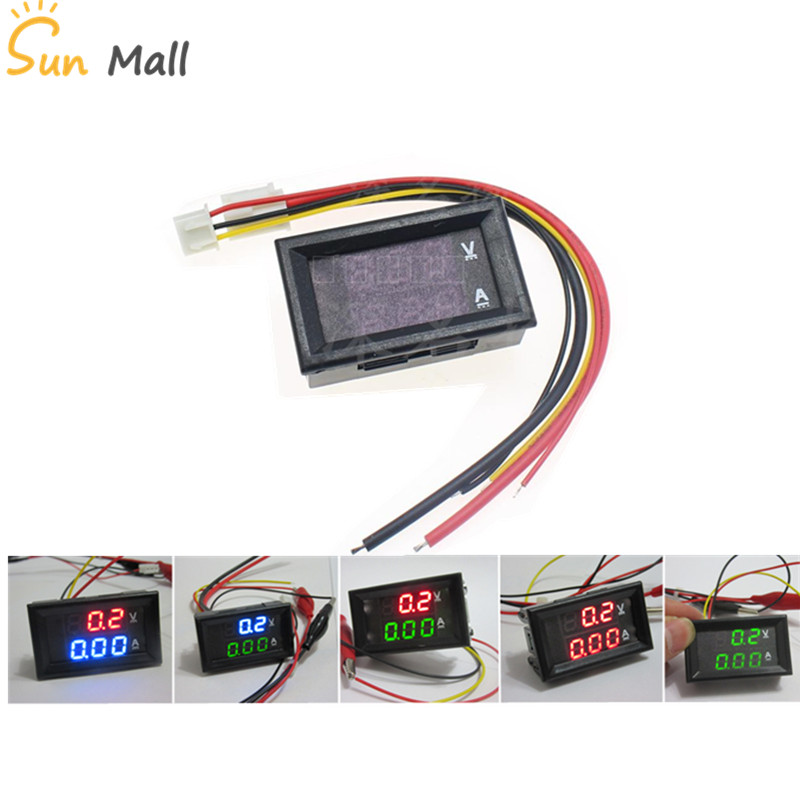 Free Shipping 0.28inch LED Digital Voltmeter Ammeter DC 100V 1A 10A 50A 100A Volt Ampere Meter Amperemeter Voltage Indicator dc 5v 3 1a 4 in 1 led digital voltmeter ammeter thermometer dual usb universal car charger voltage current temperature meter