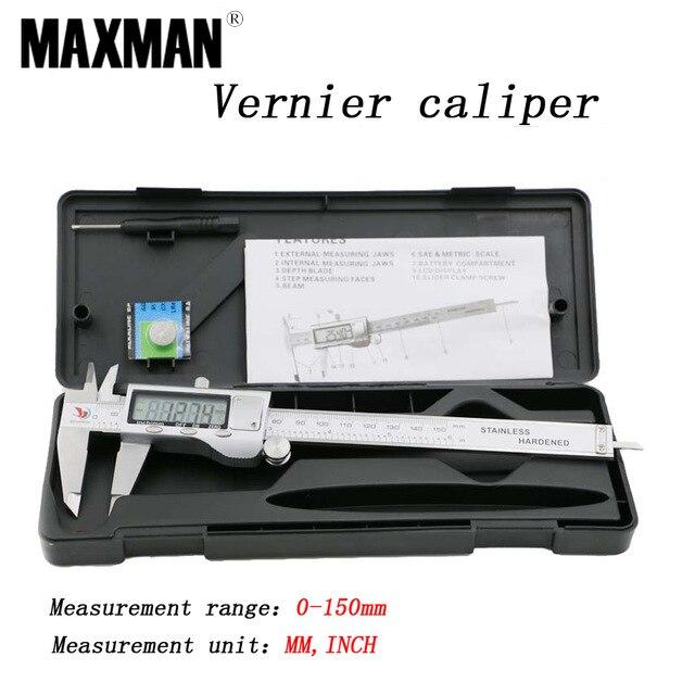 Toda em Aço Inoxidável de Alta Milímetros de Medição Ferramentas de Aferição Maxman Polegadas Precisão Eletrônica Digital Vernier Caliper 150 & 0-150mm mm –