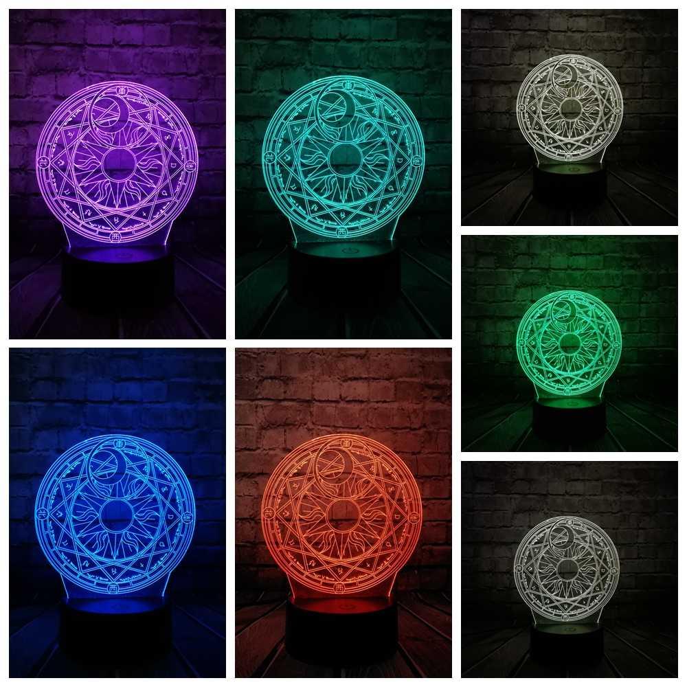 Мультфильм японское аниме Cardcaptor Сакура волшебный круг 3D лампа USB ночной Светильник многоцветный светодиодный RGB светильник ing лампа Luminaria детская игрушка