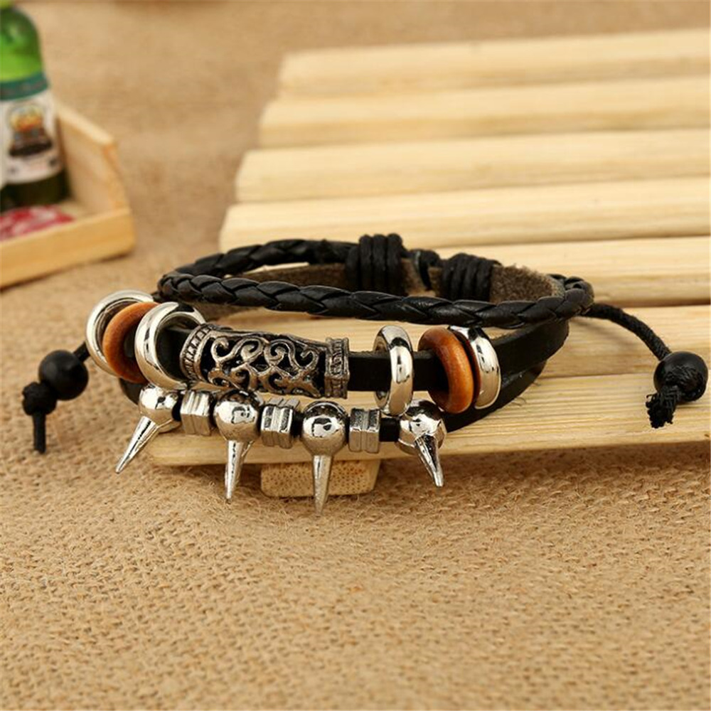 Punk Style Silver Plated Pattern Charm Leather Bracelets For Women Men Adjustable Braided Wristband Rope Bracelet Jewelry B020