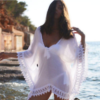 2016 Loose White Summer Women Bat Sleeves Mini Dress Cover up Swinsuit Chiffon Hollow Details Sexy Bikini Hot Beach Mini Dress