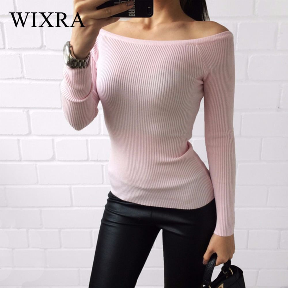 Wixra Warm and Charm Off Shoulder Knitted Sweater Women Autumn Elegant Jumper Pull Femel Winter High Stretch Knitwear Top(China)