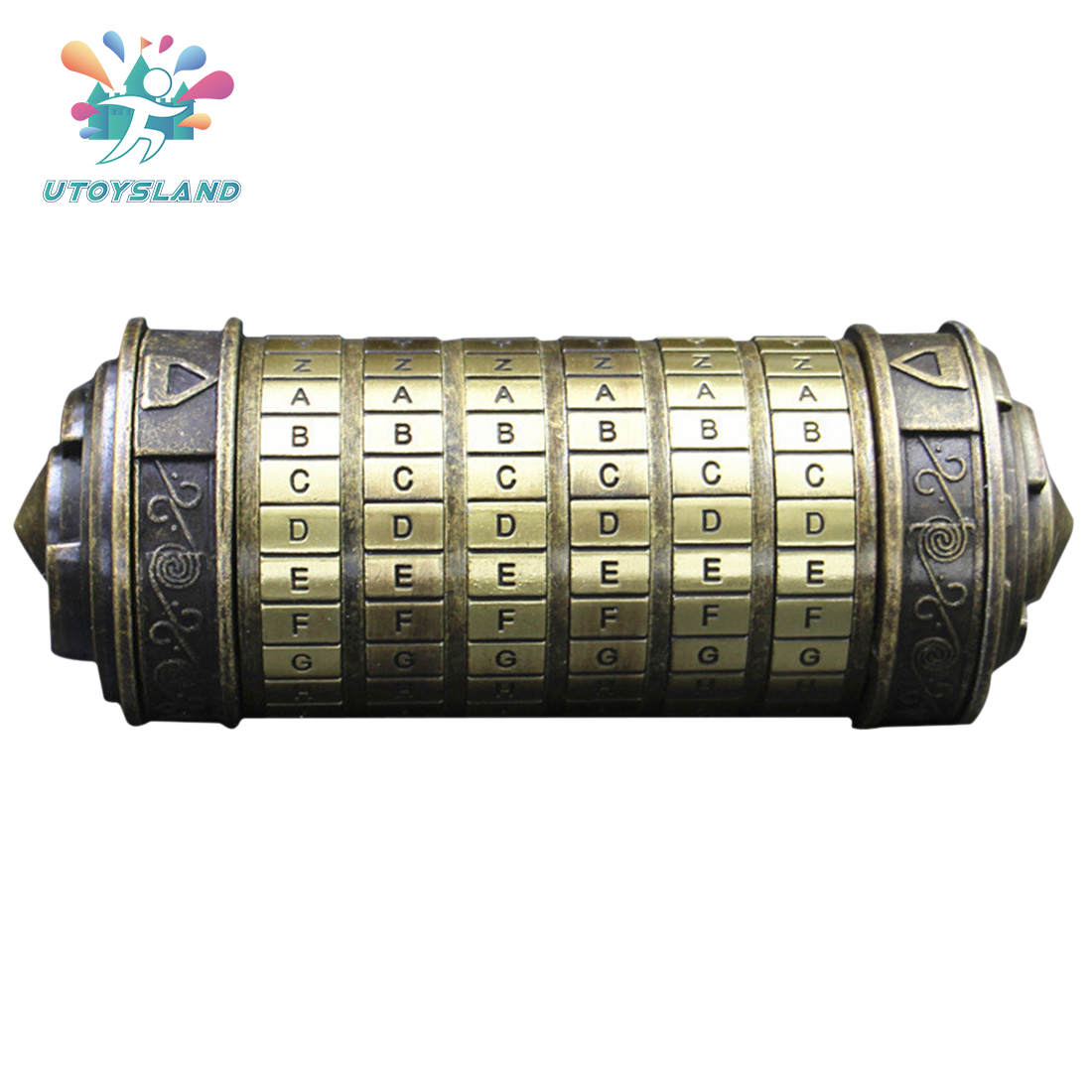 High Recommend Bronze Cryptex Lock Da Vinci Code Creative Gift Educational Coded Lock Toy Support Adult Children Brain Training