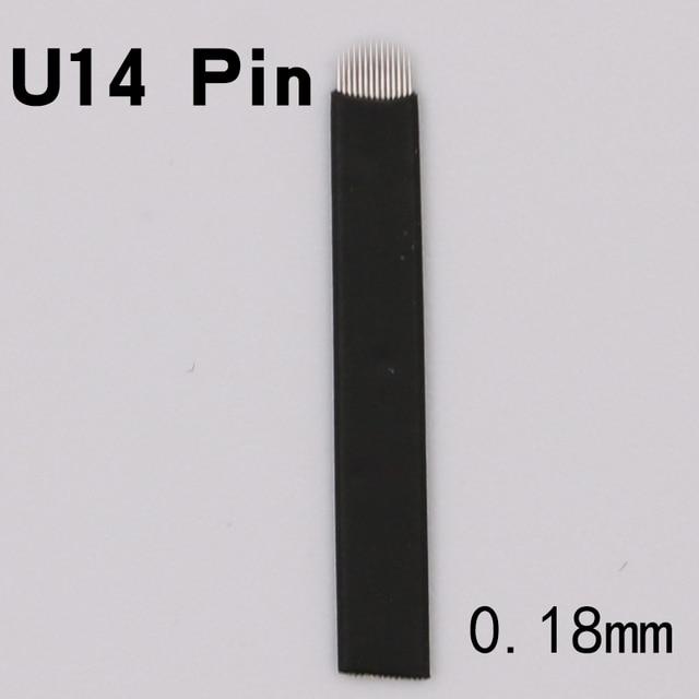 50 PCS Microblading Needles Black 14 Pins U Shape Permanent Makeup Blades Manual Eyebrow Tattoo Curved Blade For Tattoo Pen