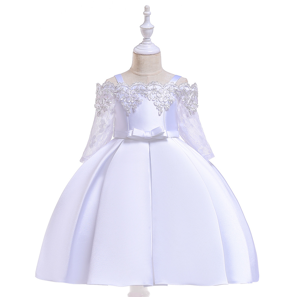 Off The Shoulder White  Lace  Long Sleeves  Flower Girl Dresses For Wedding  First Communion Dresses Prom Evening Gowns
