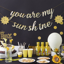 Gold Foilyou are my sunshine Banner Party Decoration Craft Supplies Paper Hanging Boy Girl Show Kids Photo Props Favors