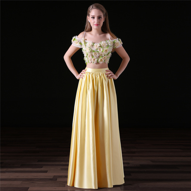 18a3d6634e3edc 2018 Two Piece Prom Dresses Crop Top Custom Made A Line Floor Length Satin Flowers  Off the Shouder Evening Gowns