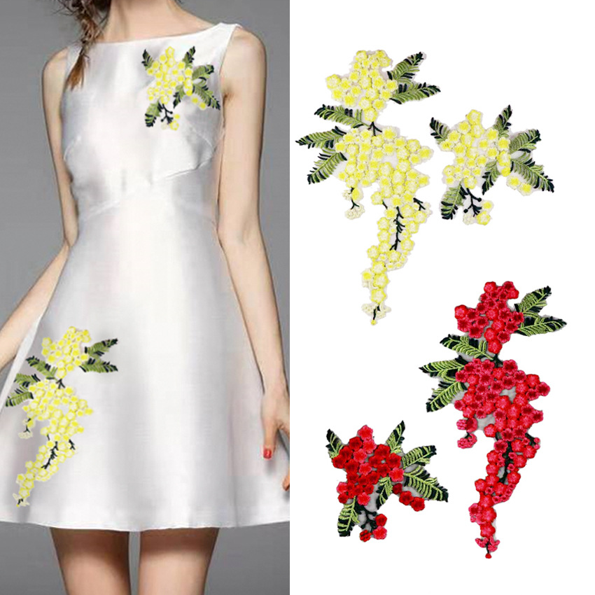 Flower Embroidery Applique Pacthes Lace Fabric Neckline Diy Clothes Sewing