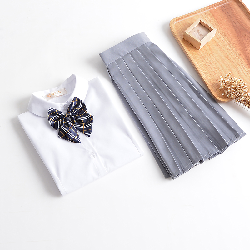 White Shirt And Pleated Skirt School Girls Sailor Uniform Preppy Style