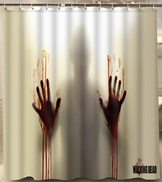 Custom Walking Dead Blood Hands Shower Curtain Waterproof 180x180cm Polyester With Hooks For Bathroom