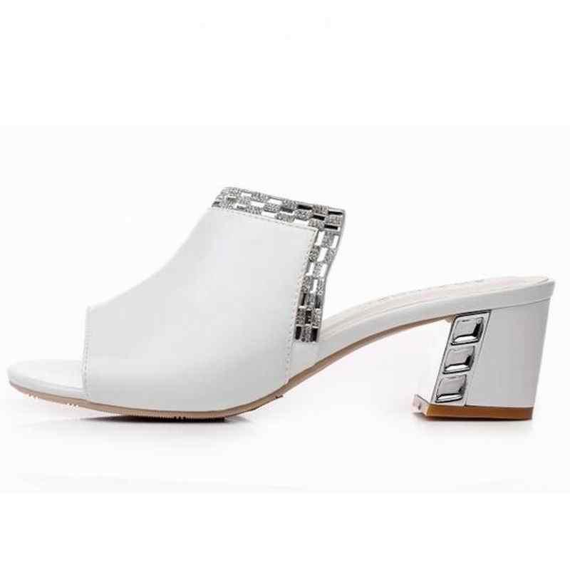 Moda bayanlar slaytlar hakiki deri kadın yüksek topuk taklidi yaz ayakkabı zarif kadın terlik burnu açık sandalet