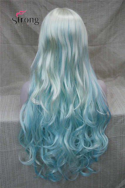 Online Shop Women s Wigs Long Curly White Blue cosplay wig Synthetic ... f3d59d2475