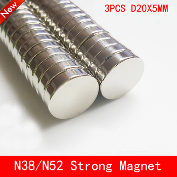 3pcs 20*5 Strong Disc Magnets Dia 20mm x 5mm N50 N52 Rare Earth Neodymium Magnet 20mm*5mm