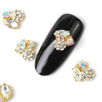 2019 new 10 pieces crystal bright pearl nail rhinestone alloy Nail Art decorations glitter DIY 3D CJE jewelry pendant