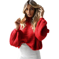 2017 New Autumn Winter Women Sweaters And Pullovers Casual Lantern Sleeve Turtleneck Loose Knitted Sweater Pull