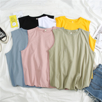 2019 Summer O neck Loose Design Letters Print Cotton Sleeveless T Shirts for Women Korean Clothes