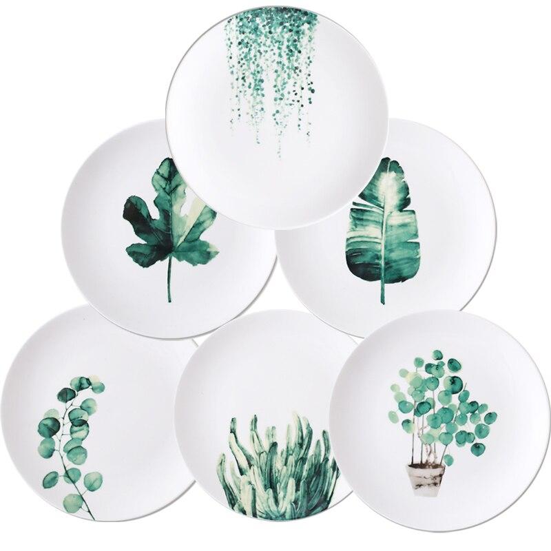Ensemble de 6 pièces service à dîner en céramique | 8 /10 pouces pour le café et la vaisselle, plantes vertes assiettes à dessert, assiettes à gâteaux