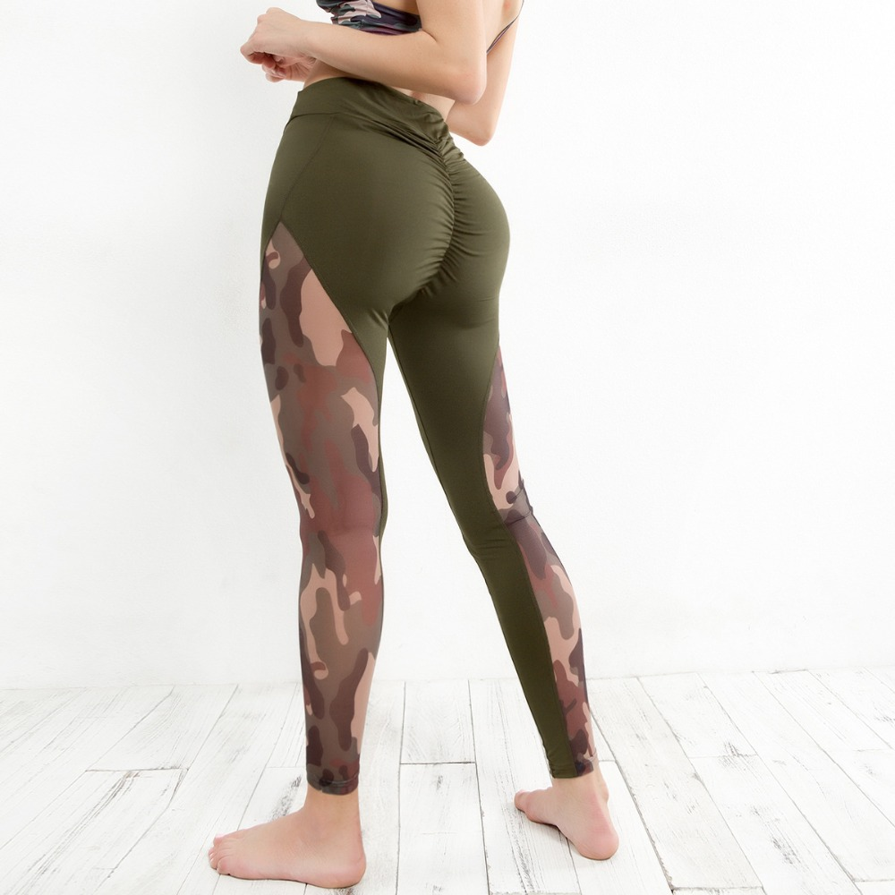 9315599eec671 NCLAGEN Women Camouflage Patchwork Leggings Booty Camo Workout Pant Elastic  Scrunch Sexy Casual Fitness Butt Leggins Activewear