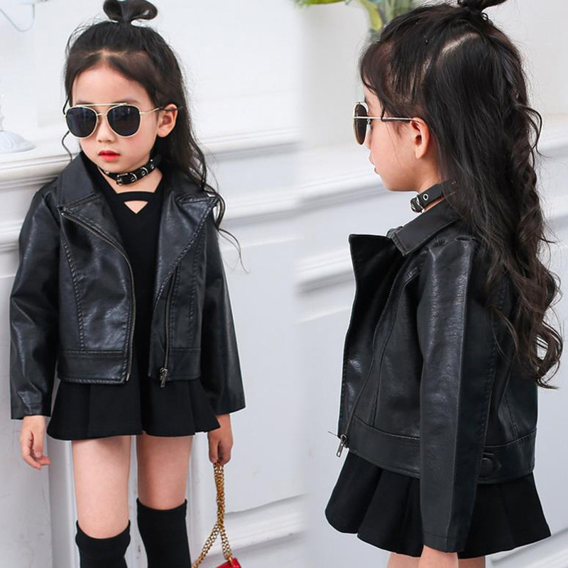 2017 Childrens Clothing Autumn Kids PU Leather Jacket for Baby Girls Fashion Vintage Turn-down Collar Outerwear & Coats XL212