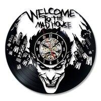 Criativo Batman Joker Relógio de Parede Design Moderno Decorativa Sala Dos Meninos Art Disco de Vinil Do Vintage Relógios Relógio de Parede Decoração Da Sua Casa