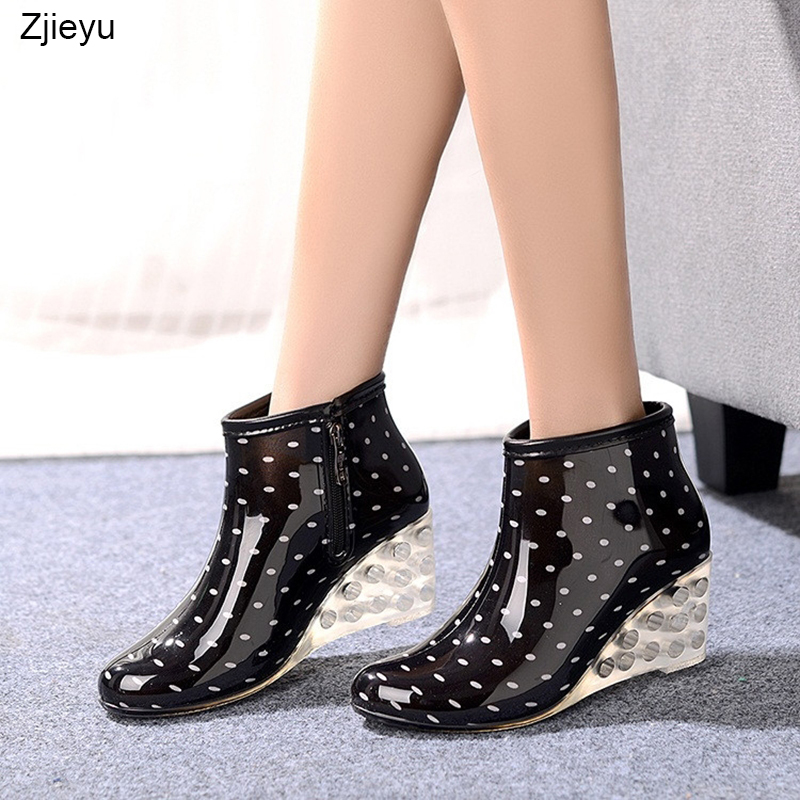 2018 New high heel rain boots with crystal color heelbota feminina bot Short Rain Boots For Women high heel galoshes rain boots