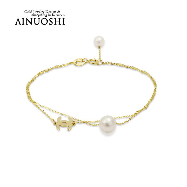 69dee74e273 AINUOSHI 18K Yellow Gold Natural Cultured Freshwater Pearl Simple Design  Bracelet Trendy Pulsera for Women Eangagement