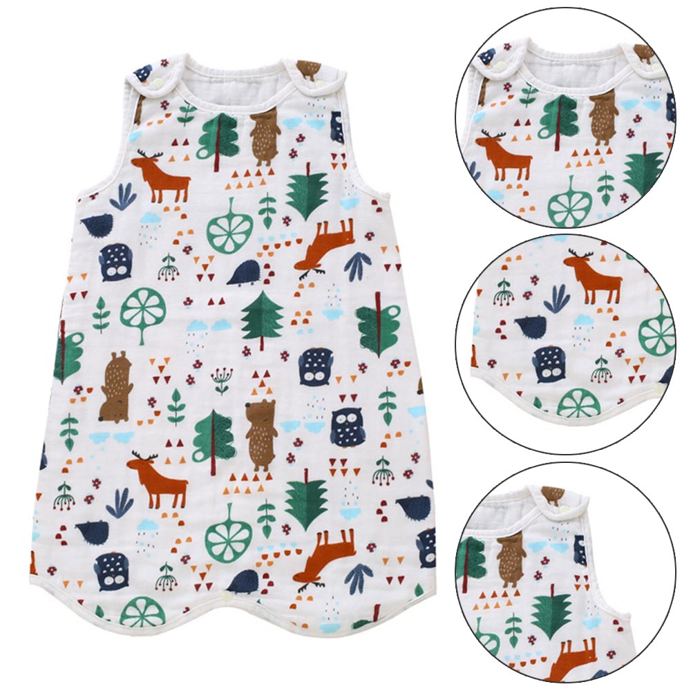 Cotton Baby Gauze Sleeping Bag Summer Infant Baby Four-layer Pajamas Children Strap-type Anti-kick Unisex Pullover Nordic Forest