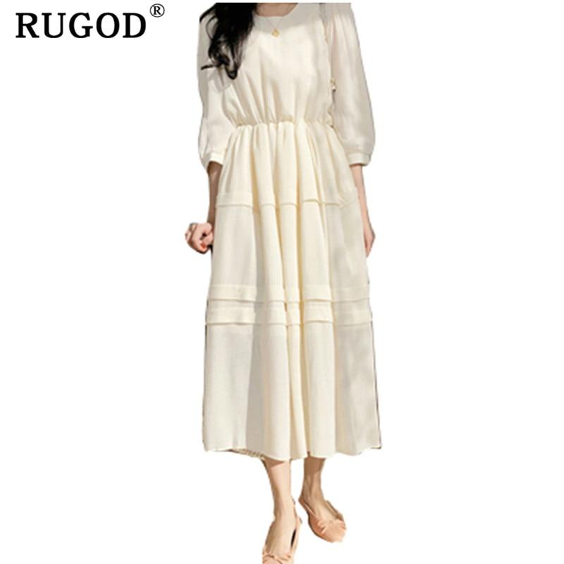 51c925d100 Skup Tanie RUGOD słodkie stałe sukienka dla kobiet plisowana i dekoltem w  szpic elegancka kobiety Midi sukienka na co dzień eleganckie kobiety wiosna  ...