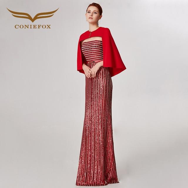 Coniefox 32555 красный Блёстки модные пикантные Русалка Дамы ретро элегантность аппликации платья для выпускного вечера Вечерние вечернее платье длинное
