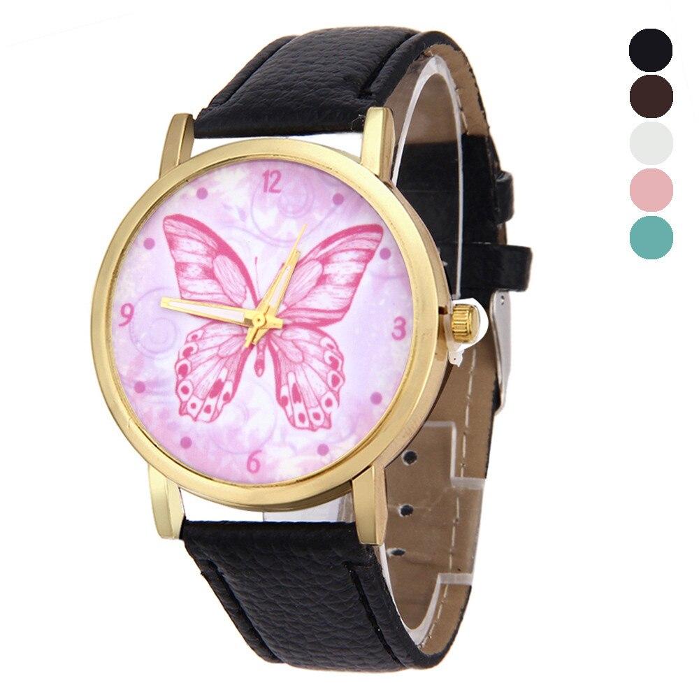 2017 Fashion Butterfly Pattern Leather Band Analog Quartz Vogue Watches Gift Relogio Masculino Uhren Relojes Ma2