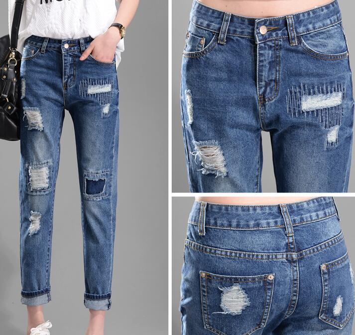 Aliexpress.com : Buy Women Repaired Distressed Jeans New 2017 ...
