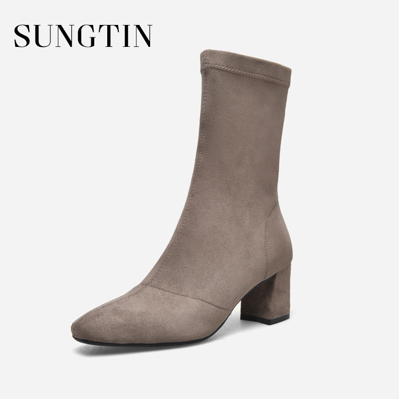 Sungtin Autumn Winter New Plush Warm Stretch Short Boots Women Suede Ankle Boots Casual Solid Plus Size High Heel Riding Boots цена 2017