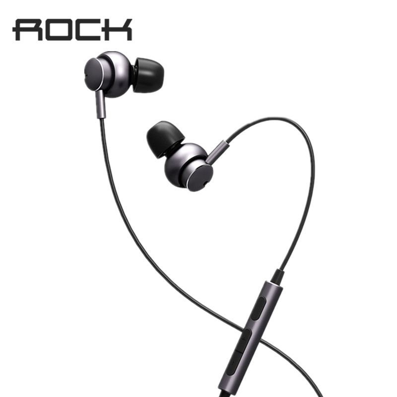 ROCK Mubow Stereo Earphone In-Ear Space Series Metal Earphones with Microphone Headset For iPhone Samsung Huawei Xiaomi m320 metal bass in ear stereo earphones headphones headset earbuds with microphone for iphone samsung xiaomi huawei htc